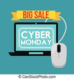 Cyber Monday design - Cyber Monday concept with sale icons...