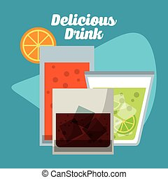 Drinks with her own glasses design - Drinks concept with...