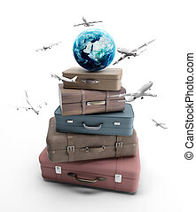 travel bags and airplane on blue background