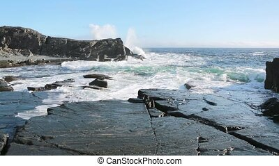 Waves and rocks - Waves breaking on the Newfoundland...