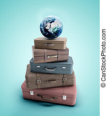 travel bags and earth  on a blue background
