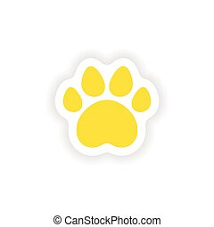 icon sticker realistic design on paper traces of animals