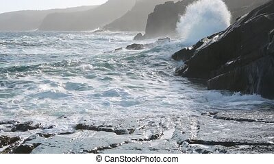 Breaking waves - Waves breaking on the Newfoundland...