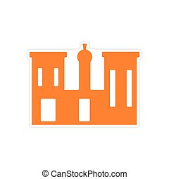 icon sticker realistic design on paper palace Egypt