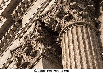 Corinthian Columns Top Detail - Close up architectural...