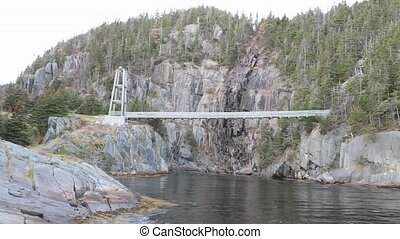 Suspension bridge over river - View of suspension bridge...