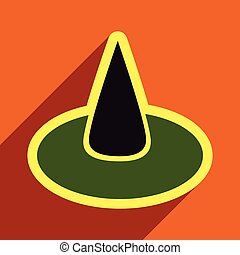 Flat with shadow Icon witch hat on a colored background