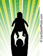 Silhouette of the father of  holding child on hands