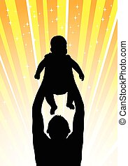 Silhouette of the father of  holding child orange