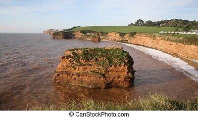 Ladram Bay beach and coast Devon - Ladram Bay beach Devon...
