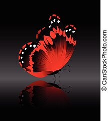 The bright-red butterfly