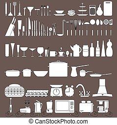 ferramenta, cozinha, cobrança, ícones