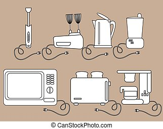 Household appliances, kitchen Electrical appliances Icons