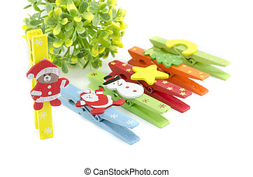 set of christmas icon on colorful cloth clip. focus on teddy...