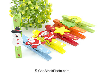 set of christmas icon on colorful cloth clip. focus on...
