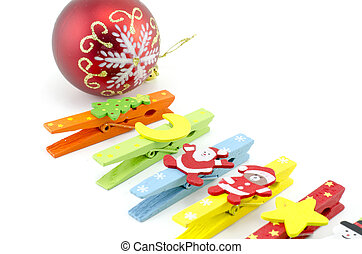 cropped image set of cloth clip with christmas decoration...