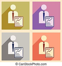 Modern flat icons vector collection with shadow businessman business papers