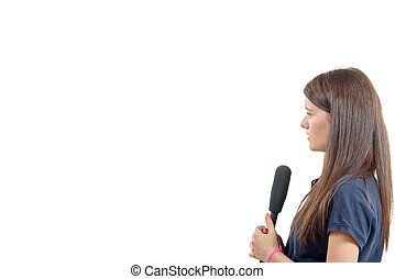 a young woman journalist with a microphone isolated on white...
