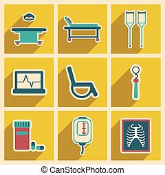 Icons of assembly medical themed icons in flat style