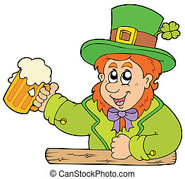 Cartoon leprechaun with beer - vector illustration