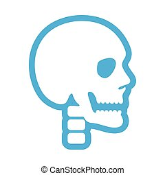 flat icon on white background human skull