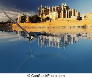 Majorca cathedral in Balearic Islands and eagle