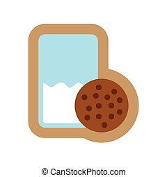 flat icon on white background glass milk and cookies