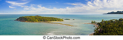 bird view on koh samui - view on a small island at the...
