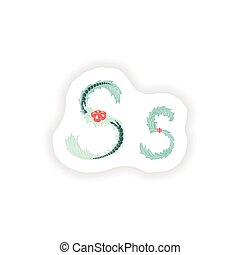 stiker Abstract letter S logo icon  in Blue tropical style