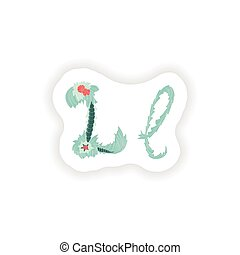 stiker Abstract letter L logo icon  in Blue tropical style