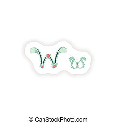 stiker Abstract letter W logo icon  in Blue tropical style