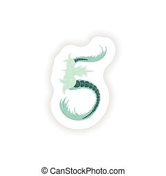 stiker Abstract number 5 logo icon  in Blue tropical style