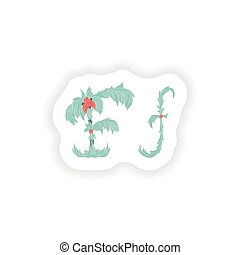 stiker Abstract letter F logo icon  in Blue tropical style