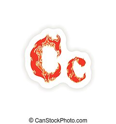 sticker fiery font red letter C on white background