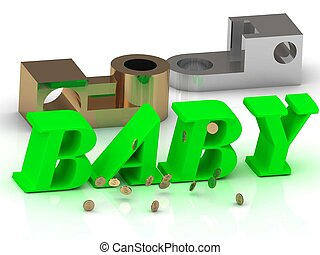 BABY - inscription of color letters and golden details on...
