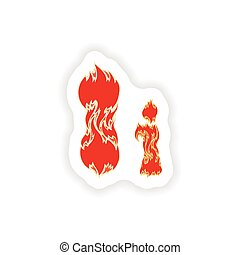 sticker fiery font red letter I on white background
