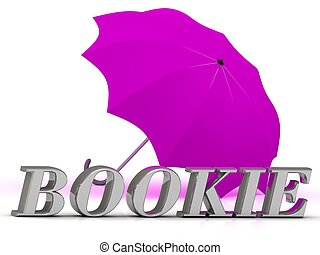 BOOKIE- inscription of silver letters and umbrella on white...