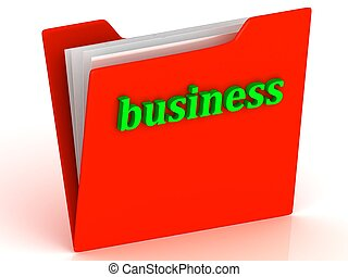 business - bright green letters on a red folder on a white...