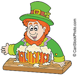 Leprechaun with three beers - vector illustration.