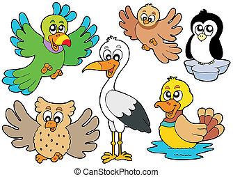 Cute birds collection 2 - vector illustration.
