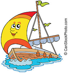 Cartoon yacht on white background - vector illustration.