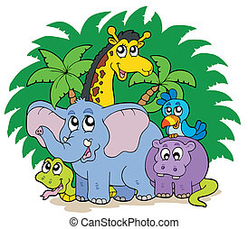 Group of African animals - vector illustration