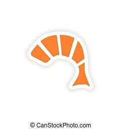 icon sticker realistic design on paper tempura shrimp