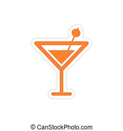 icon sticker realistic design on paper cocktail olives
