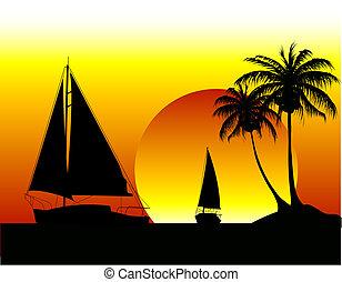 Yachts on the ocean