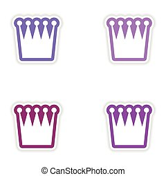 Set of stickers British crown on white background