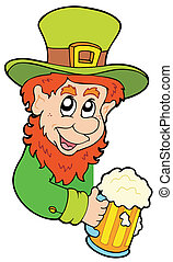 Lurking leprechaun on white background - vector...