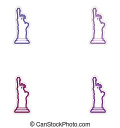 Set stickers The Statue of Liberty on white background