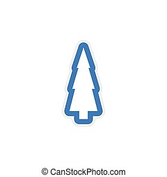 paper sticker on white background Christmas tree