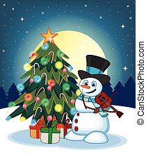 Snowman With Hat And Blue Scarf